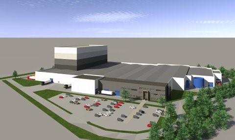 STOR FABRIKK: Slik vil Peterson Packaging sin nye fabrikk i Svinesundparken i Halden se ut. Byggingen starter i løpet av sommeren.