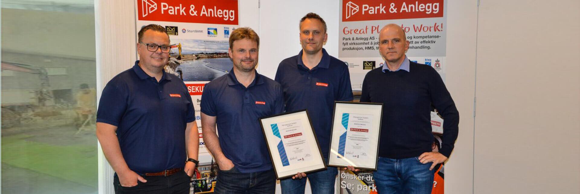 Park & Anlegg ISO 9001 Godkjenning