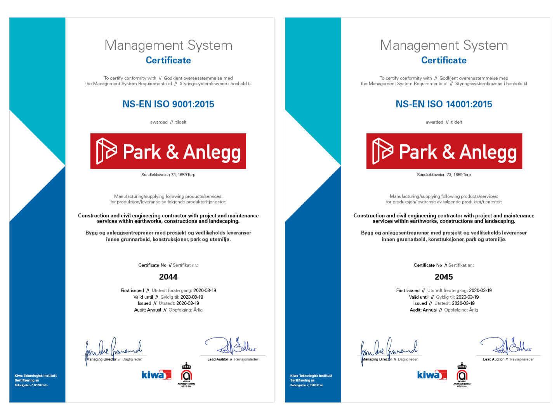 Park & Anlegg_ISO 9001 KIWA